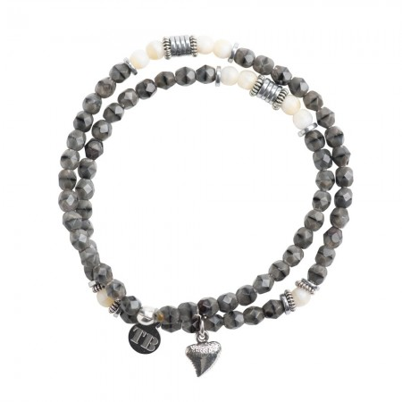 Collier et Bracelet 2 tours Sharky Gris