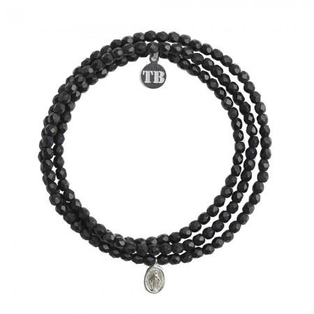 Collier et Bracelet 3 tours Petite Madone - Noir Mat