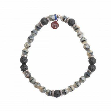 Bracelet GENTLEMAN Noir Mat Pierre de Lave