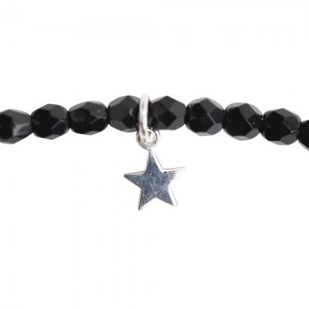 Collier et Bracelet 2 tours Star Noir