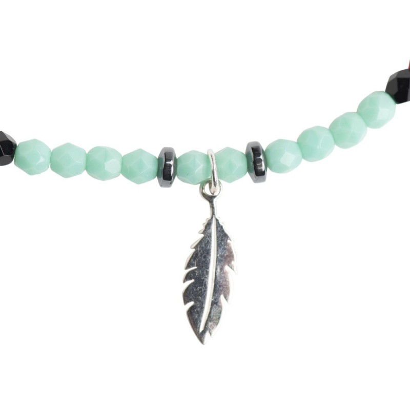 Collier et Bracelet 2 tours Plume Turquoise Apache