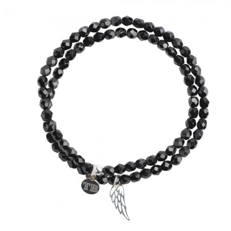 Collier et Bracelet 2 tours Angel Noir