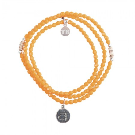 Collier et Bracelet 3 tours Chakra Orange
