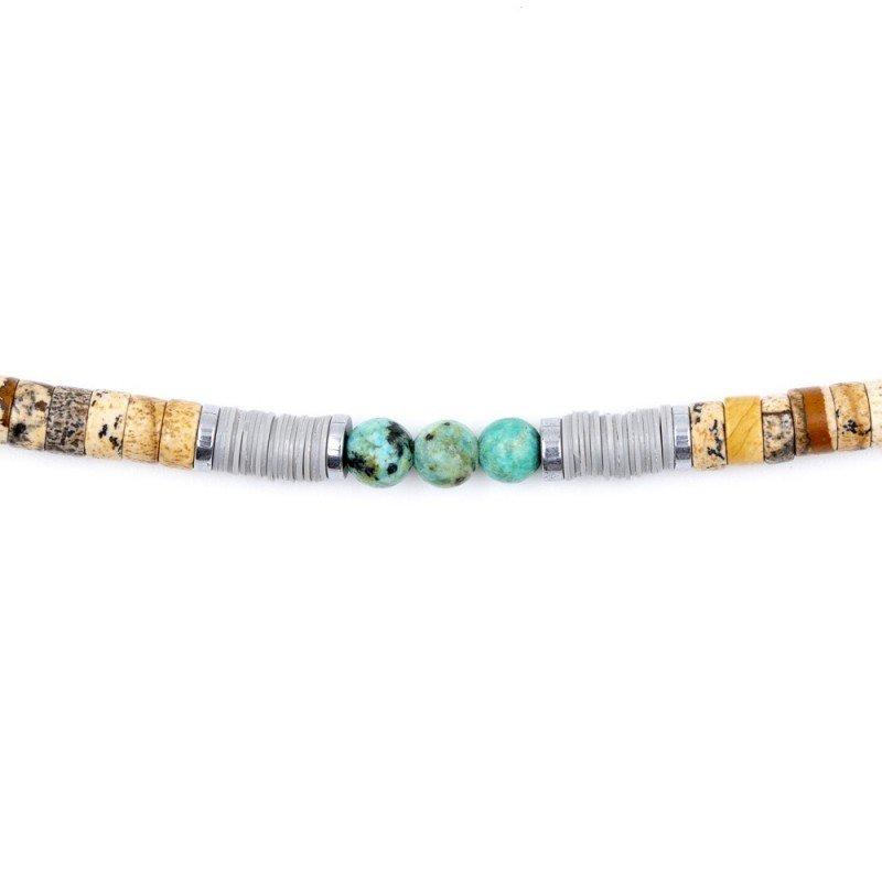 Bracelet Homme et Collier Femme Charles Beige Turquoise