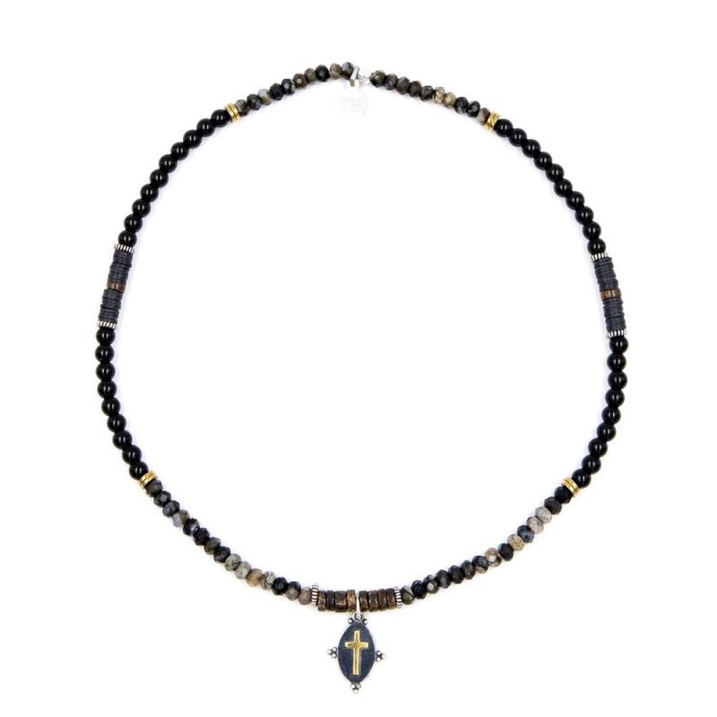Bracelet Homme et Collier Femme Josepha Croix Noir Onyx