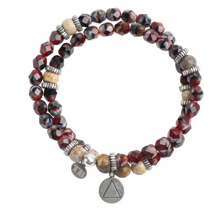 Collier et Bracelet 2 tours 4 Elements Xl Rouge