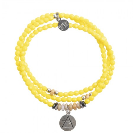 Collier et Bracelet 3 tours 4 Elements Jaune
