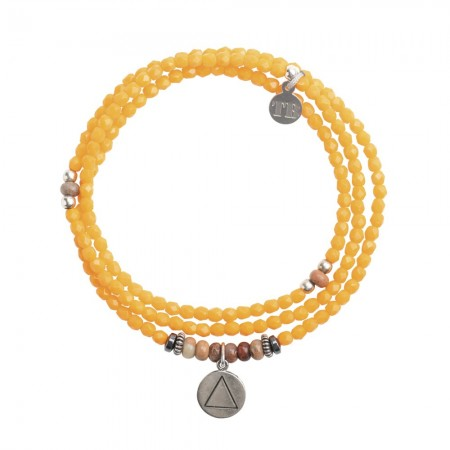 Collier et Bracelet 3 tours 4 Elements Orange