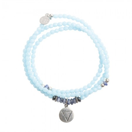 Collier et Bracelet 3 tours 4 Elements Bleu