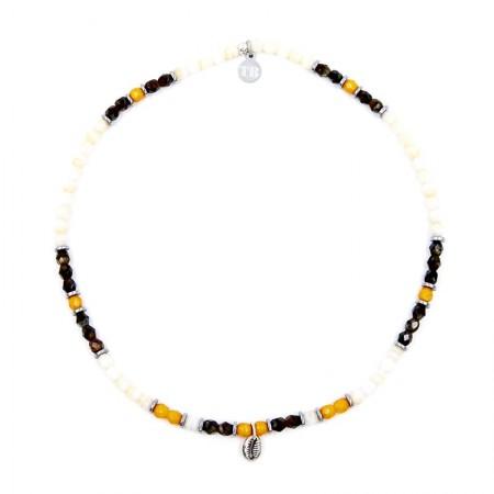 Bracelet 2 tours et collier Playa Cauri coquillage Ecru - Vue Collier