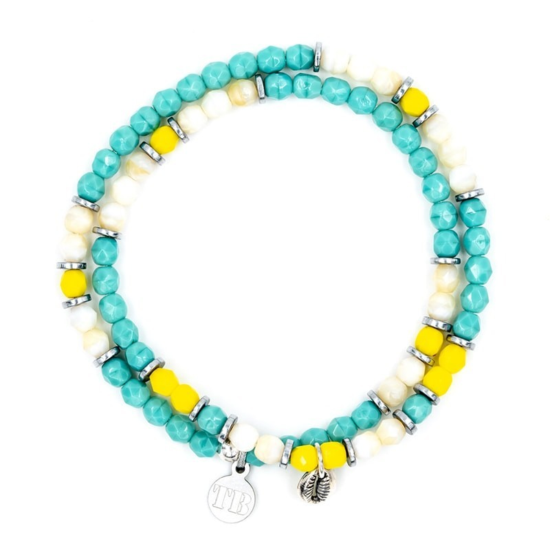 Bracelet 2 tours collier et Playa Cauri coquillage turquoise vue 2 tours