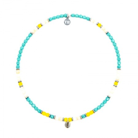 Bracelet 2 tours collier et Playa Cauri coquillage turquoise vue Collier