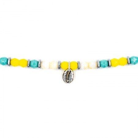Bracelet 2 tours collier et Playa Cauri coquillage turquoise zoom
