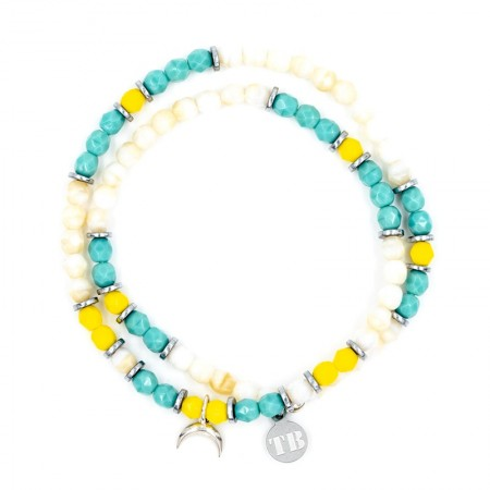 Collier et Bracelet 2 tours Playa Moon Ecru