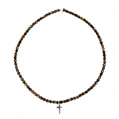 Bracelet 2 tours et collier Playa Cross croix Brun 1 - Collier