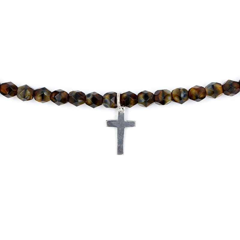 Collier et Bracelet 2 tours Playa Cross Brun