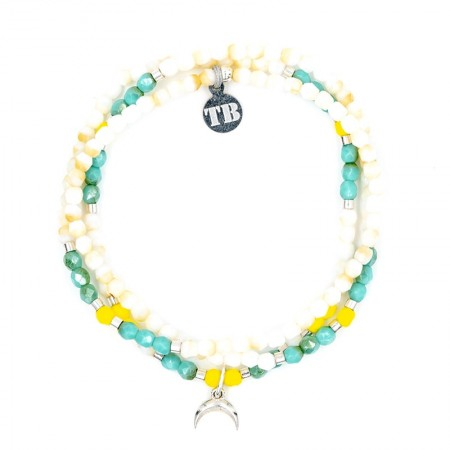 Collier et Bracelet 3 tours Playa Moon Ecru