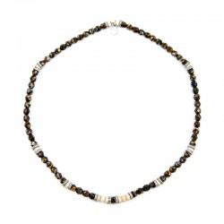Bracelet 3 tours et collier Playa Sand Brun Jaspe - Vue Collier
