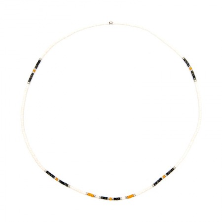 Collier Ultra fin Playa Slim Ecru Et Orange