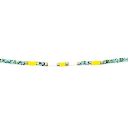 Collier Ultra fin Playa Slim Turquoise Et Jaune