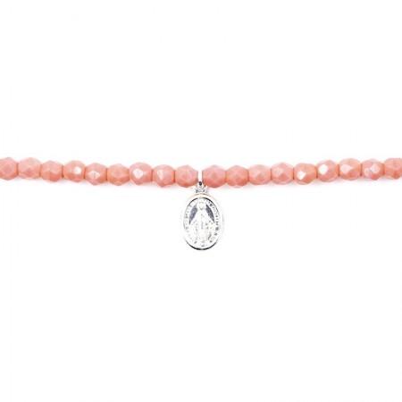 Bracelet 3 tours et collier petite Madone Rose - zoom