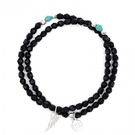 Collier et Bracelet 2 tours Angel Noir Mat