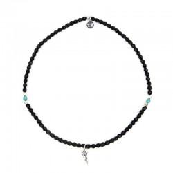 Bracelet 2 tours et collier Angel ange noir mat - Vue Collier