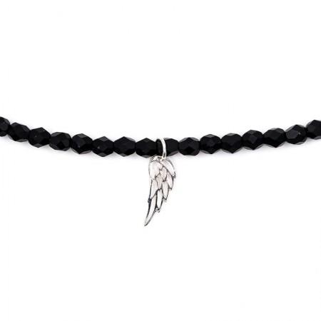 Bracelet 2 tours et collier Angel ange noir mat - Zoom