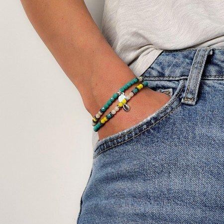 Collier et bracelet 2 tours Playa Cauri turquoise - poignet