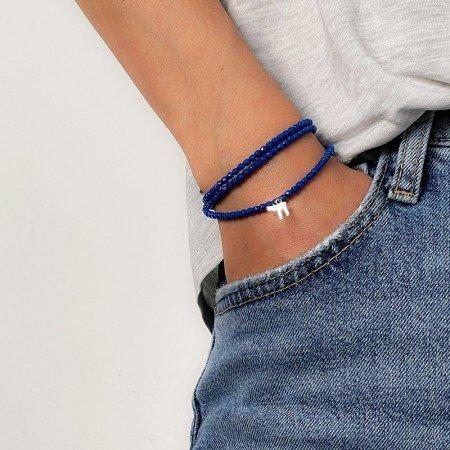 Collier et bracelet 3 tours Haï bleu majorelle - poignet