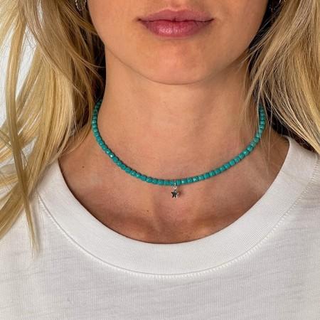 Collier et Bracelet 2 tours Star Turquoise - cou