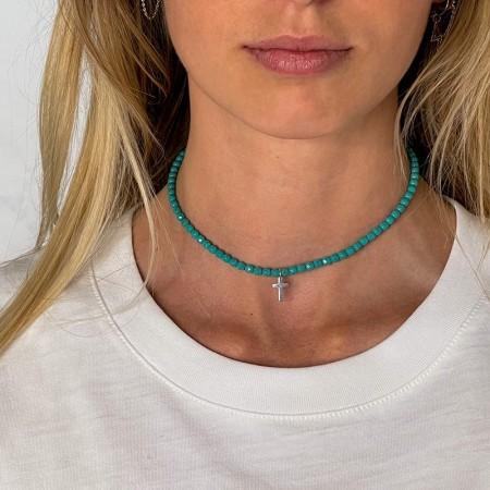 Collier et Bracelet 2 tours Cross Turquoise - cou
