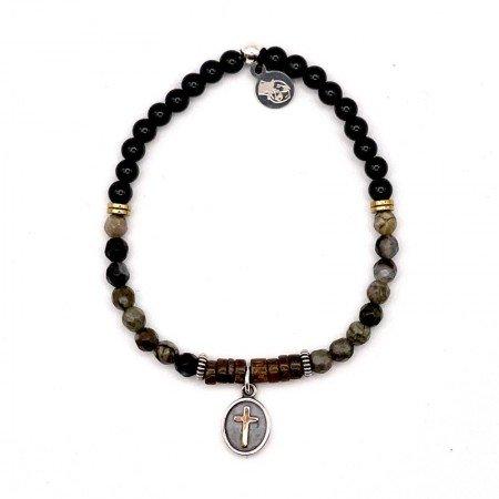 Bracelet Femme 1 tour Josepha Croix Noir Onyx