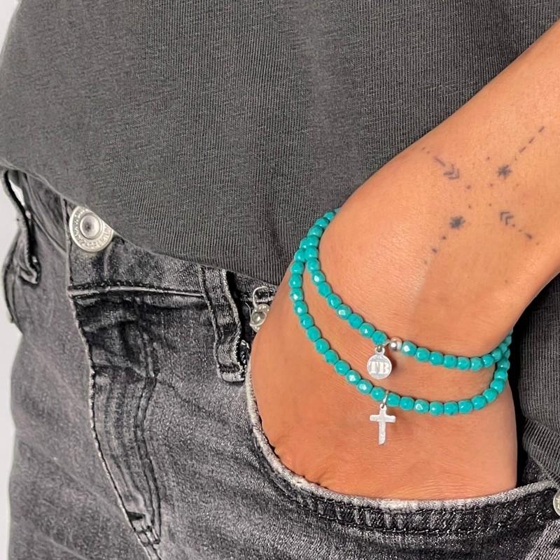 Collier et Bracelet 2 tours Cross Turquoise