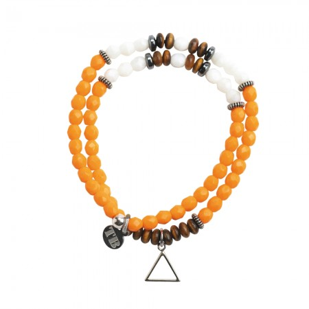 Collier et Bracelet 2 tours 4 Elements Orange
