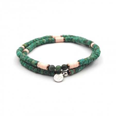 Bracelet Homme et Collier Femme Fred Turquoise Africaine Jade Impérial