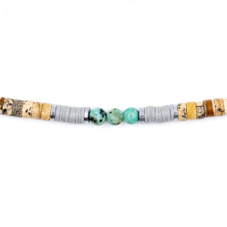 Bracelet Femme 1 tour Charles Beige Turquoise