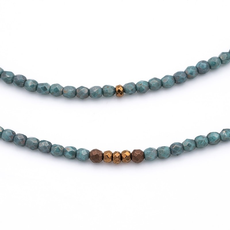 Collier et Bracelet 5 à 6 tours Vero Turquoise Moon Dust