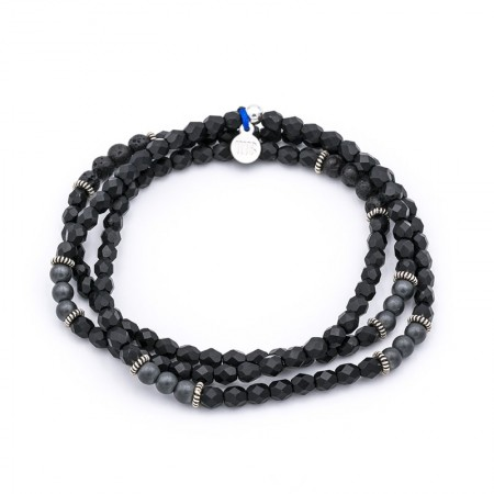 Bracelet 3 tours noir mat