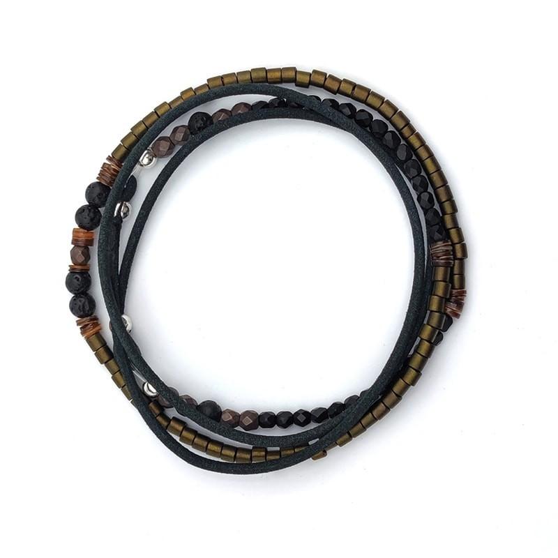 Collier et Bracelet 5 à 6 tours Max Cuir Kaki