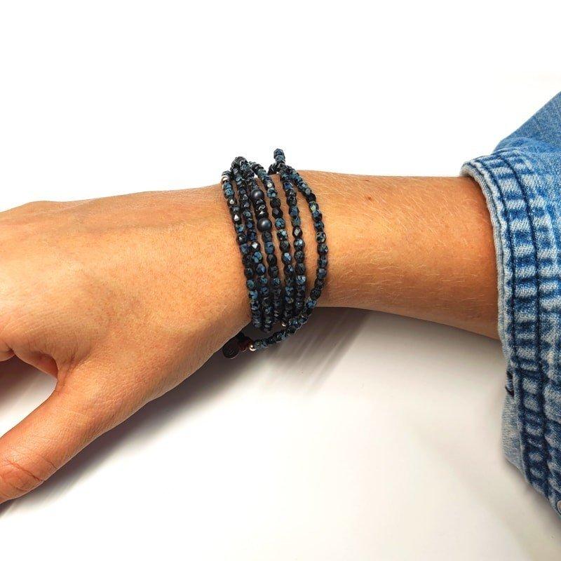 Collier et Bracelet 5 à 6 tours Vero Noir Rock