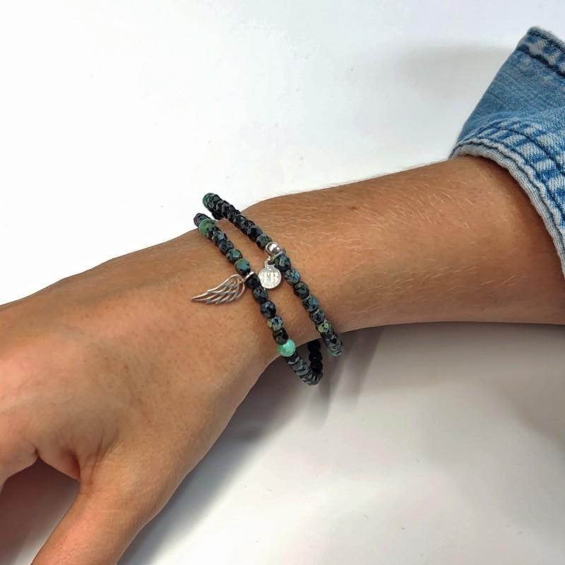 Collier et Bracelet 2 tours Angel Noir Rock/Turquoise Gemme